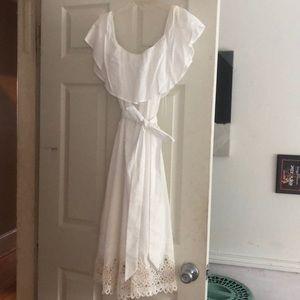 Off the shoulder white dress!